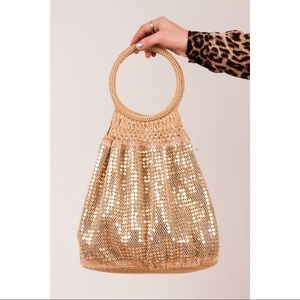 Handbags - Vintage Crochet Sac Bag with Shiny Gold Sequins